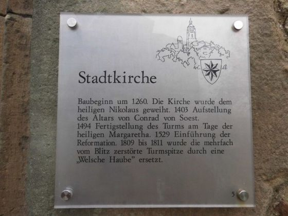 Info-Tafel zur Stadtkirche in Bad Wildungen